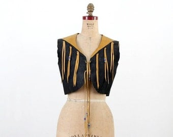 SALE vintage buckskin leather fringe vest, 60s western rodeo crop top