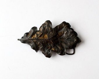 vintage 70s brass leaf buckle, oak leaf plate style belt buckle
