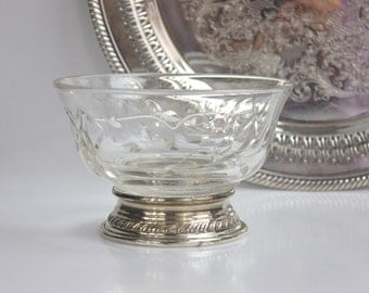 Divided Glass Condiment Bowl / Elegant Glass Cut and STERLING Silver Base / Serving Dressing Bowl / Gadrooned Edge / c1950s