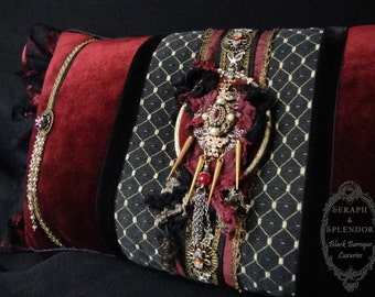 DECORATIVE PILLOW Red Countess Coffin Cushion (Hand crafted, one of a kind)