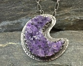 Amethyst Moon Pendant, Amethyst Crystal Crescent Moon and Raven, Sterling Silver, Handmade, Purple gemstones, Natural Gems, Made in NH