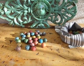 30 Vintage Antique  Clay  Marbles With Handmade  Bag