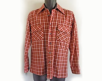 1970's David Homison Plaid wool / Acrylic semi-lined shirt with 2 flap breast pockets/ M/S 14 1/2 neck