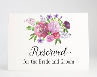 Personalized Reserved Sign, Wedding Signage, Reception, Shower, Rehearsal Dinner, Engagement Party - Garden Blooms, Size 5 x 7, Printed Sign
