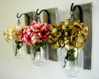 Hanging Mason Jar Wall Decor, Mason Jar Decor, country decor, farmhouse decorating, rustic wall, kitchen decor, shabby chic jar, hydrangea