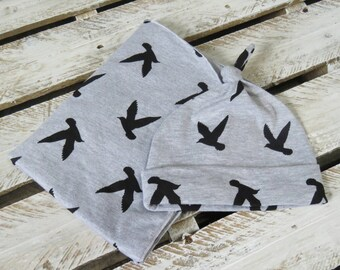 Swaddle blanket - Gray & Black Bird Knit Swaddle Blankets PRE ORDER