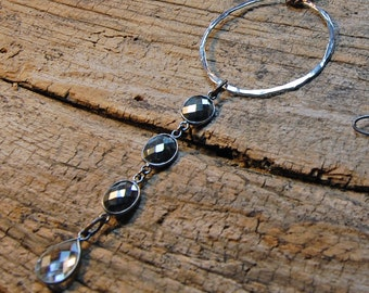 Silver Ring on Gunmetal with Pyrite & Crystal Quartz Necklace