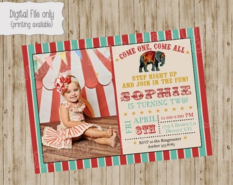 Circus Birthday Invitation, Circus Birthday Photo Invitation, Circus Birthday, Circus Invitation, Circus Party Invitation