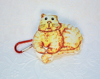 Orange Tabby Cat Backpack Buddy Pocket Pet mini plushie with carabiner clip