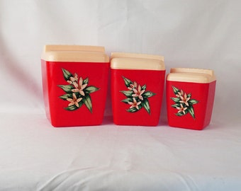Vintage 1950s 3 Burrite Red Flower Canisters by Burroughs with Lids