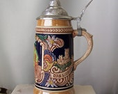 Vintage Gerz Beer Stein Made in Germany Lusterware Glazed Finish Pewter Lid Man Cave Bar Pool Room Gift For Dad 1980s