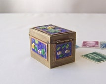 Vintage Brass Stamp Box Enamel Box Postage Box Post Office Stamp Holder Vintage Office Decor