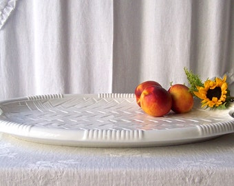 Vintage White Weave Platter HUGE Centerpiece Ceramic Platter Made In Italy 1980s
