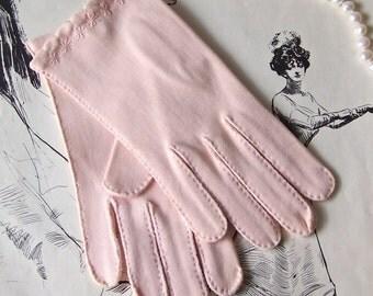 Vintage Pink Cotton Gloves Fownes Doette Mid Century Modern 1960s Size 6 1/2