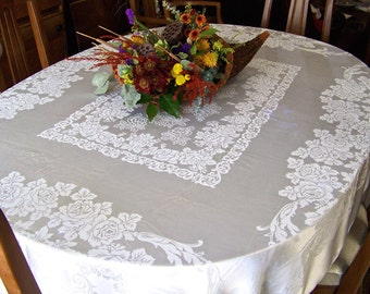 Vintage White Silk Brocade Tablecloth Wedding Table Cottage Decor No Stains Table Cover Elegant Dining 1960s