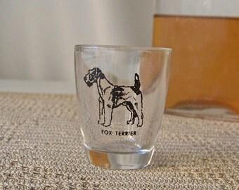 Vintage Shot Glass Fox Terrier Barware Dog Lover's Shot Glass Mid Century Modern Mad Men 1950s