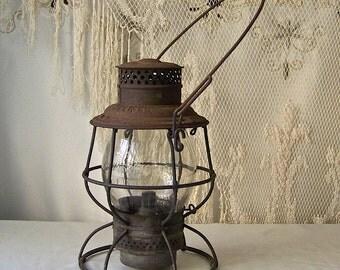 Vintage Railroad Oil Lantern Pennsylvania Lines 1908-1913 Adlake Reliable New York Chicago Classic Railroad Oil Lantern Rustic Charm