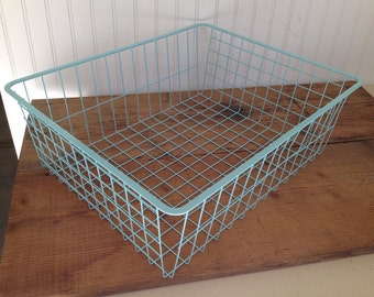 Large Vintage Wire Basket Painted a Lovely Tiffany Blue