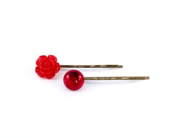 Bright Red Rose and Glass Hair Pins