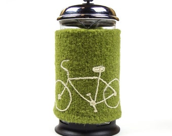 French Press Cozy with Bicycle 32 oz Bodum cosy felted wool bike in apple green