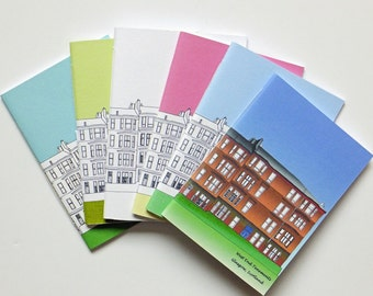 6 Small Glasgow notebooks, blank journal, blank notebooks, A6 notebooks, Glasgow gift, stationery