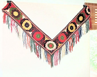 Vintage Uzbek Textile Furniture Throw, Wall Hanging, Saye Gosha from Afghanistan