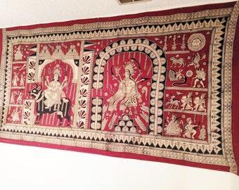 Kalamkari Block Print Wall Hanging-HUGE-9 feet wide
