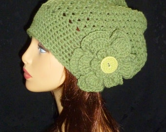 Slouchy Beanie, Slouch Hat, Pine Green Slouch Hat, Slouch Hat with Flower- Hand Crocheted - Pine Green