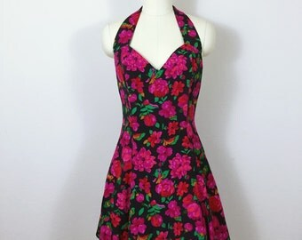 90s Halter Mini Skater Dress, Bright Floral fuschia red Grunge dress, Sz M