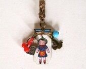 Doll Nathalie Lete  Brooch - Mini Assemblage - Lucky Charm - Recycled Pieces - Boho Chic Pendant