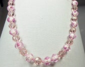 Beautiful clear pink with painted beads necklace