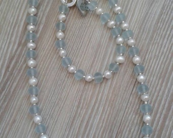 Sea Glass and Freshwater Pearl Necklace made