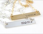Gold Bar Necklace or Silver Bar Necklace | Gold Mom Necklace, Silver Mom Necklace, Gift for Mom, Mommy Jewelry