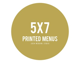 5x7 Printed Eden Wedding Studio Menus
