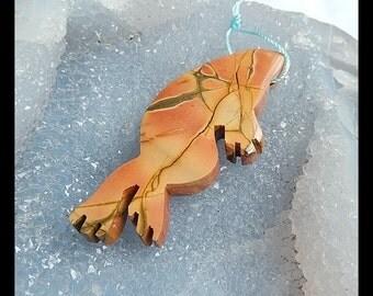 Handmade Carved Multi Color Picasso Jasper Pendant Bead,63x28x6mm,17.38g
