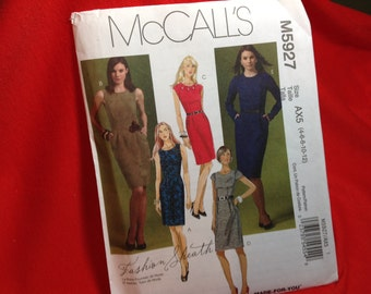 Mccalls Pattern 5927, dress pattern, sizes 4 to 12 pattern, 2009 pattern, factory folded