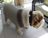 "Dog Sweater Hand Knit English Bulldog Serenity 18"" inches long X Large Merino Wool"