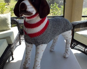 """Dog Sweater Hand Knit Pointer 24"""" inches long Merino Wool"""