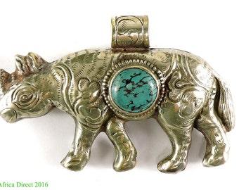 Tibetan Silver Repoussee Pendant Rhino 3.25 Inch 103021
