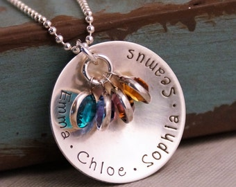 Personalized Mommy Jewelry / Hand Stamped Necklace / Sterling Silver / Big Family Necklace with four kids names