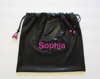 name Sophia already on it! black foil mystique w/ fuchsia Personalized GYMNASTICS GRIP BAG match to ur leotard Gymnast Birthday gift present