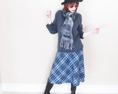 Vintage Blue Plaid Skirt - 1960s Soft Acrylic Blend - Fit'n'Flare Style