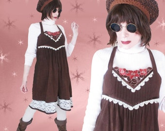Vintage Boho Jumper Dress - 60s Young Edwardian Fall Dress - Cozy Brown Fleece
