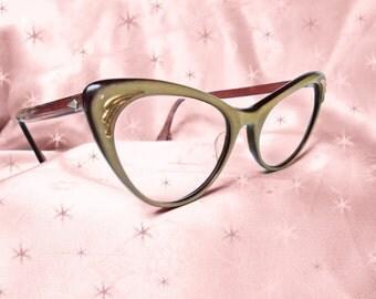 Vintage Cateye Glasses - 50s 2-Tone Lucite Laminate Eyeglasses - Extreme Cateyes