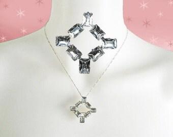Vintage Small Rhinestone Brooch Pendant- 1950s Rhinestone Pendant AND Pin  - Pendant Necklace with Rhinestones - Sterling Chain