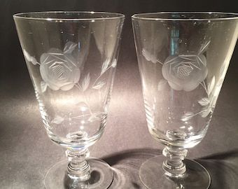 Pair of Glasses Etched with Roses