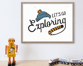 Calvin and Hobbes, Comics, Comic Book Art, Tiger, Let's Go Exploring, Explore Sign, Blue Winter Hat, Adventure, Kids Wall Art, Men's Gift