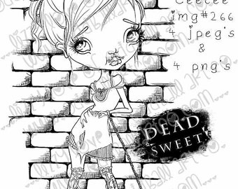INSTANT DOWNLOAD Digi Stamp Includes Sentiment Creepy Cute Big Eye Girl In Chains ~ Ceecee Image No.266 by Lizzy Love