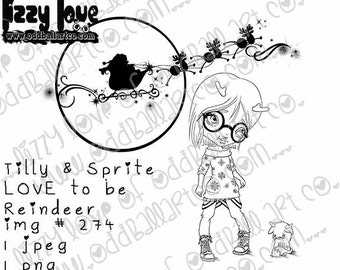 INSTANT DOWNLOAD Kawaii Christmas ~ Tilly & Sprite Love To Be Reindeer No.274 by Lizzy Love