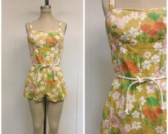 SALE 1960s Bathing Suit 60s Mod Floral Romper